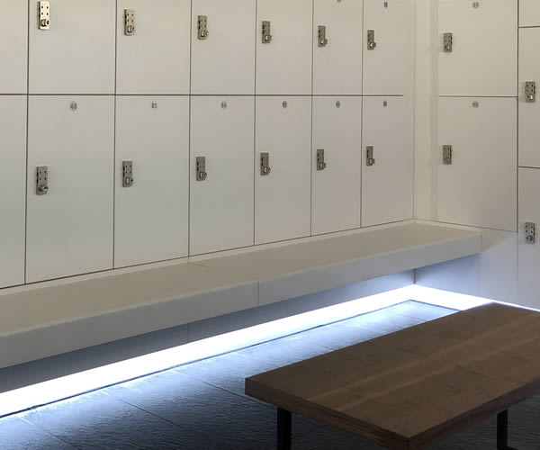 Golf lockers and furnature - bench seating - crown sports lockers