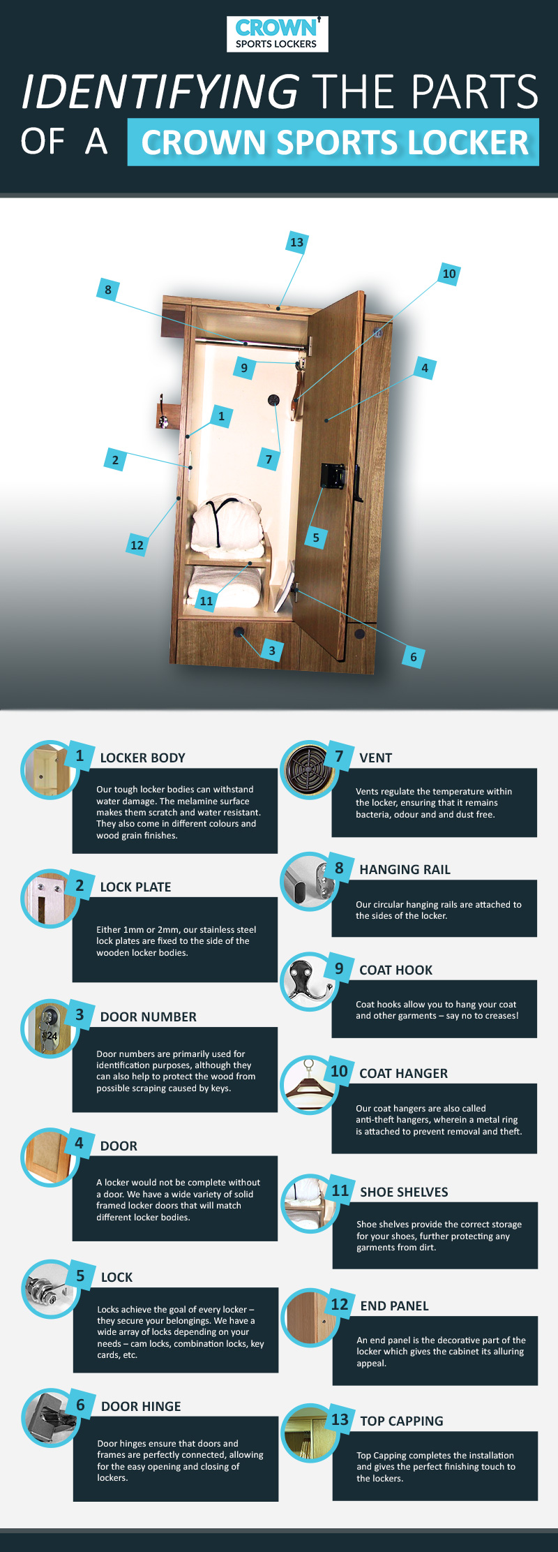 parts of a crown sports wooden locker