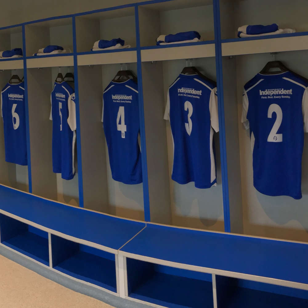 Football Changing Room - Helston FC Blue Lockers - Crown Sports Lockers