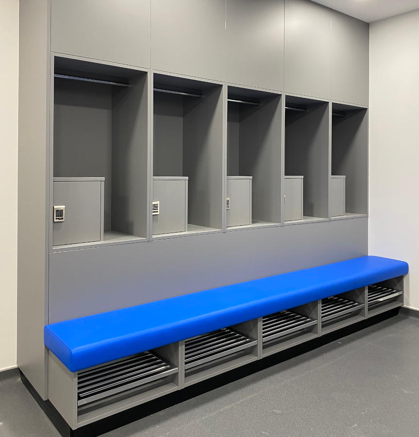 Football Changing Room - Lockers and Bench Changing Area - Crown Sports Lockers
