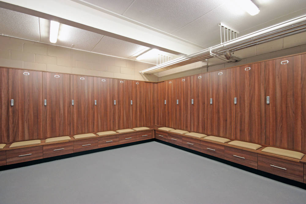 Football Changing Room - Walnut Locker Room - Crown Sports Lockers