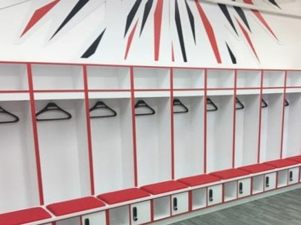 Football Changing Room - White and Red Lockers - Crown Sports Lockers