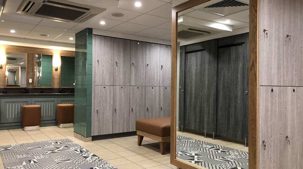Golf Lockers - Grey and Turquoise Changing Room - Crown Sports Lockers