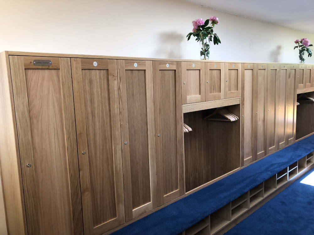 Golf Lockers - Wooden Lockers with Bench Seating - Crown Sports Lockers