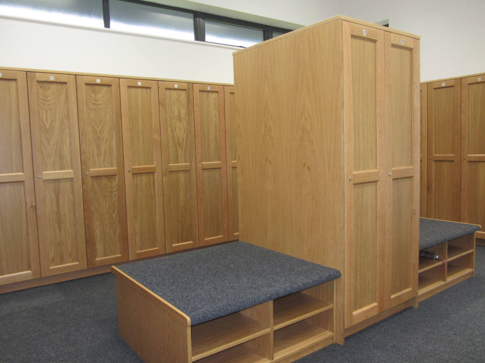 Golf Lockers - Wooden Lockers with Seating - Crown Sports Lockers