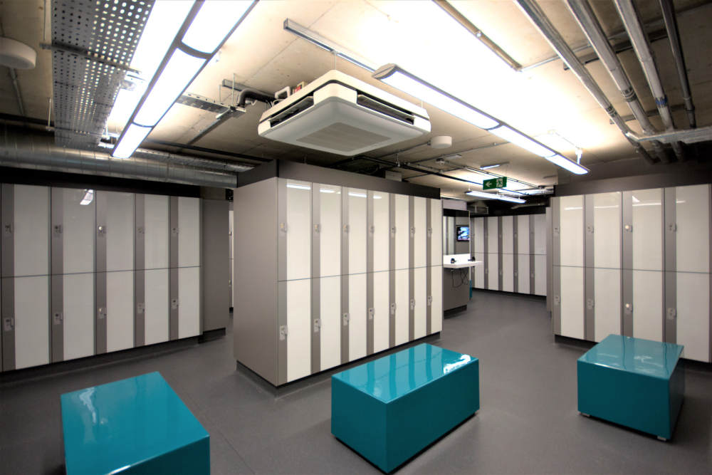 Gym Lockers - Silver White & Blue Changing Room - Crown Sports Lockers