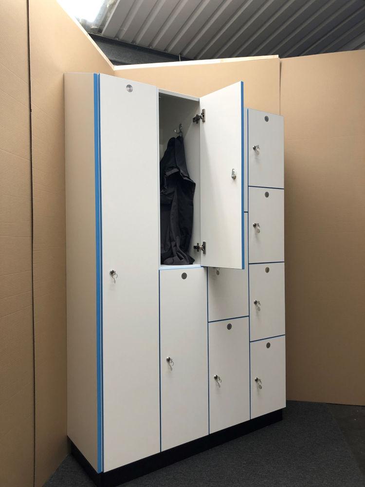 Healthcare Lockers - White and Blue Locker - Crown Sports Lockers
