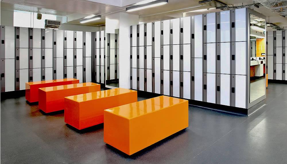 bench seating - Locker bench seating - Free standing bench seating - modern glossy gym locker room bench searting - crown sports lockers