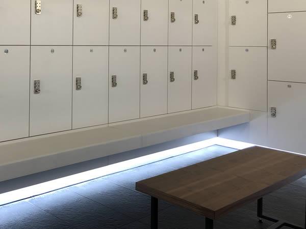 cycle studio - spin studio - bench seating - crown-sports-lockers