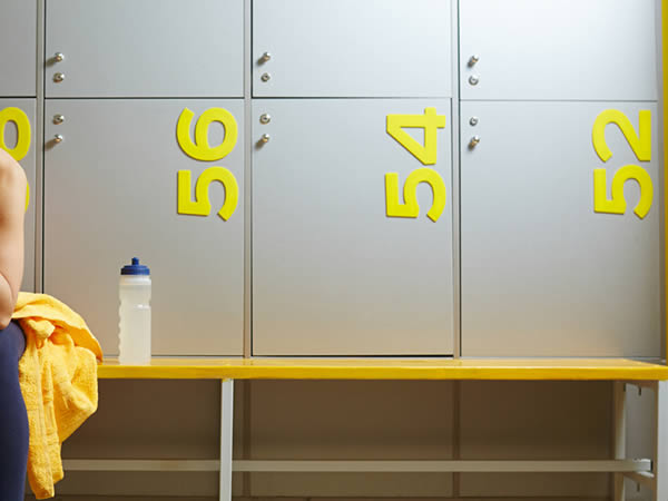 football lockers - yellow football changing rooms - crown-sports-lockers