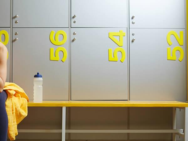 swimming pool lockers - yellow football changing rooms - crown-sports-lockers
